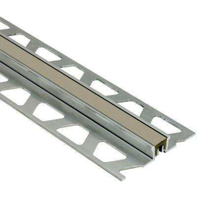 Dilex-KSN Aluminum with Grey Insert 3/8 in. x 8 ft. 2-1/2 in. Metal Movement Joint Tile Edging Trim