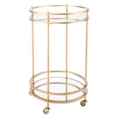 Round Gold Bar Cart
