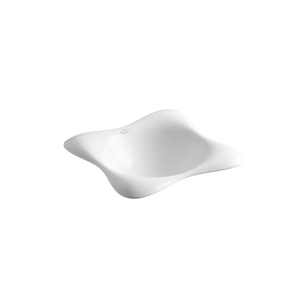 KOHLER Dolce Vita Drop-In Cast Iron Bathroom Sink in White