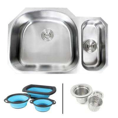 Undermount 16-Gauge Stainless Steel 32 in. 80/20 Double Bowl Kitchen Sink in Sharp Pearl with Collapsible Colanders