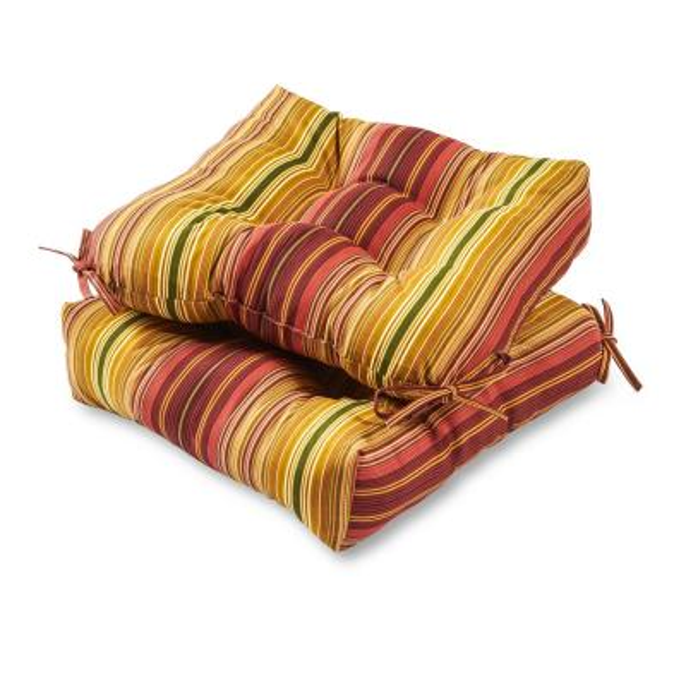 Kinnabari Stripe Square Tufted Outdoor Seat Cushion (2-Set)