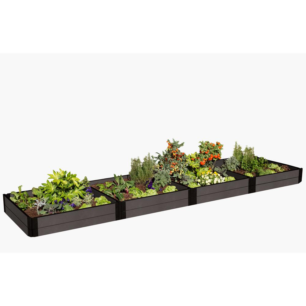 """1/"""" Profile Frame It All Tool-Free Weathered Wood Raised Garden Bed 4 x 8 x 11/"""""""
