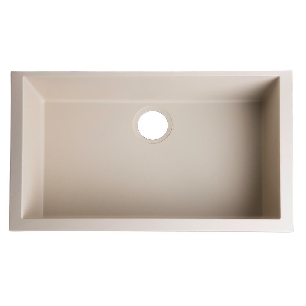 Undermount Granite Composite 29.88 in. Single Bowl Kitchen Sink in Biscuit