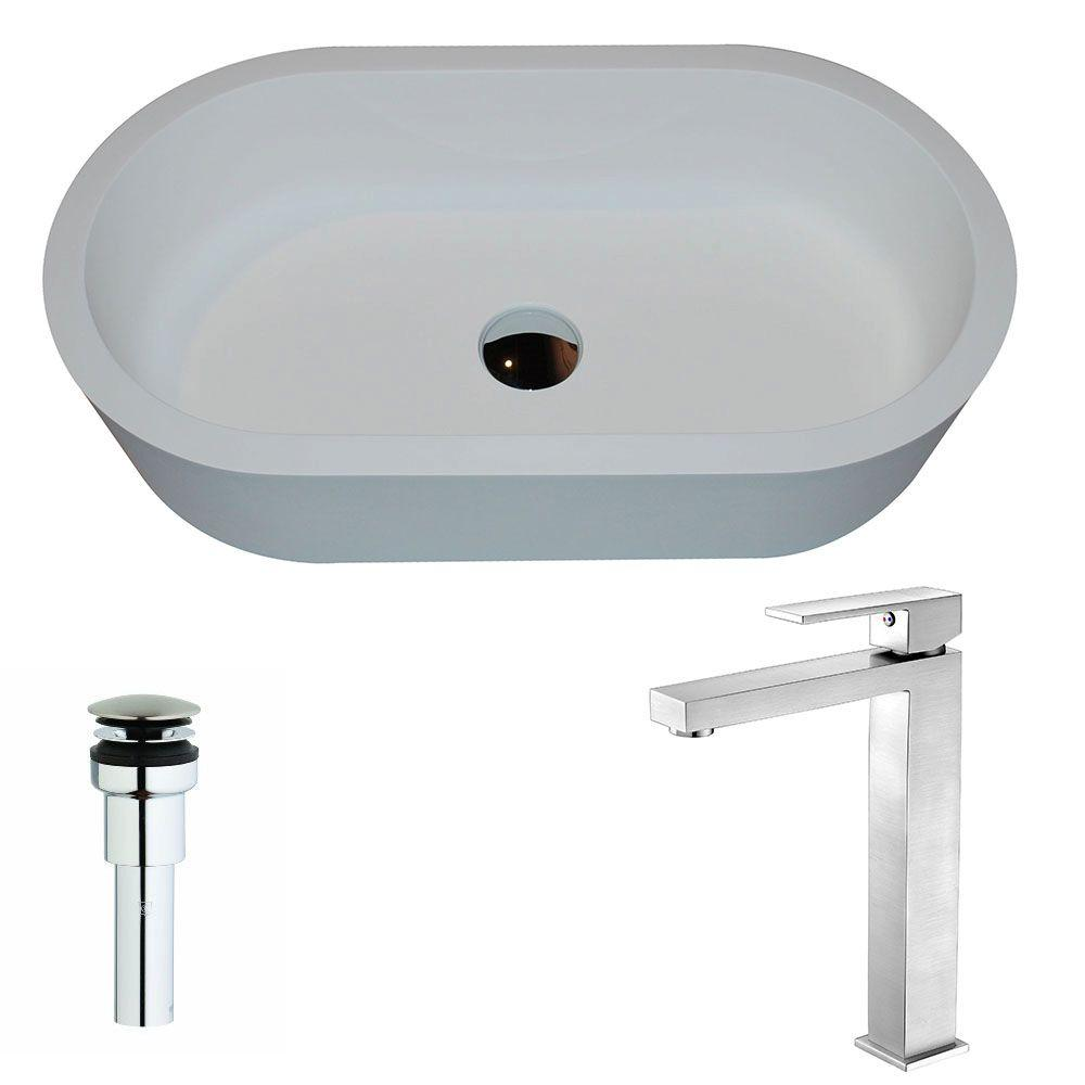 Vaine Series 1-Piece Man Made Stone Vessel Sink in Matte White
