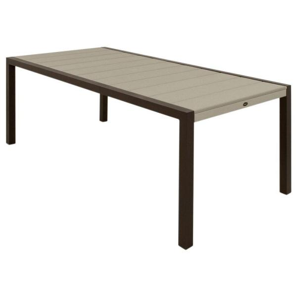 Surf City 36 in. x 73 in. Textured Bronze Patio Dining Table with Sand Castle Top