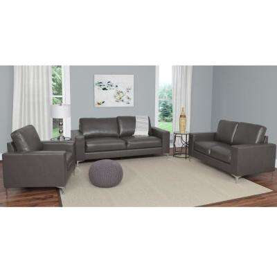 Cory 3-Piece Contemporary Brownish-Grey Bonded Leather Sofa Set