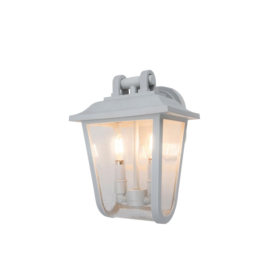 Coastal Providence 2-Light White Outdoor Wall Lantern Sconce