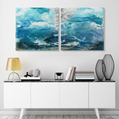 """Glazial View I & II"" High Resolution Graphic Art Print on Wrapped Canvas Wall Art"