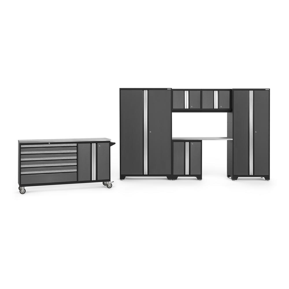 NewAge Products Bold 3.0 77.25 in. H x 182 in. W x 18 in. D 24-Gauge Welded Steel Garage Cabinet Set in Gray (7-Piece)
