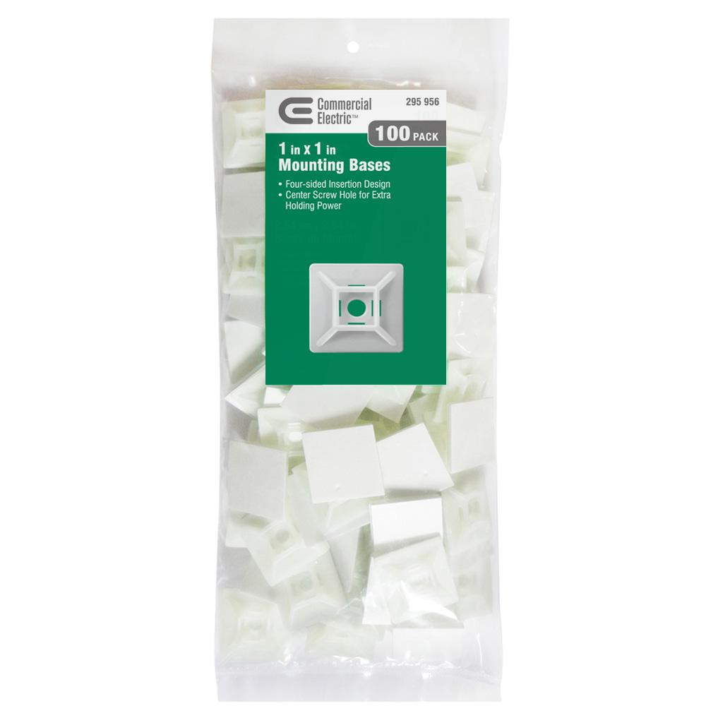 """PACK OF 100 PANDUIT ABMM-AT-C Cable Tie Mount Adhesive Backed 3//4/"""" X 3//4/"""" White"""