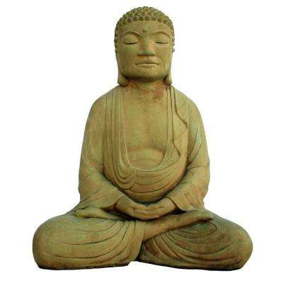 Cast Stone Meditating Buddha Garden Statue - Weathered Bronze