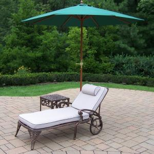 5-Piece Cast Aluminum Outdoor Chaise Lounges 2 with a 17 inch Side table, 9 ft. Wooden Umbrella and Metal... by