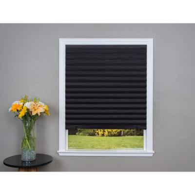 Cut-to-Size Black Cordless Blackout Privacy Temporary Shades 36 in. W x 72