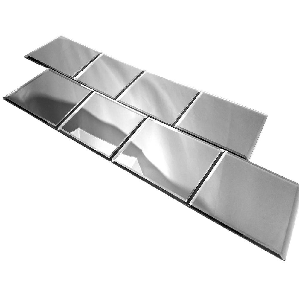 Abolos Silver Gray Square 8 X 8 Reflective Glass Mirror Peel Stick Decorative Bathroom Wall Backsplash Tile 4 4 Sq Ft Pk