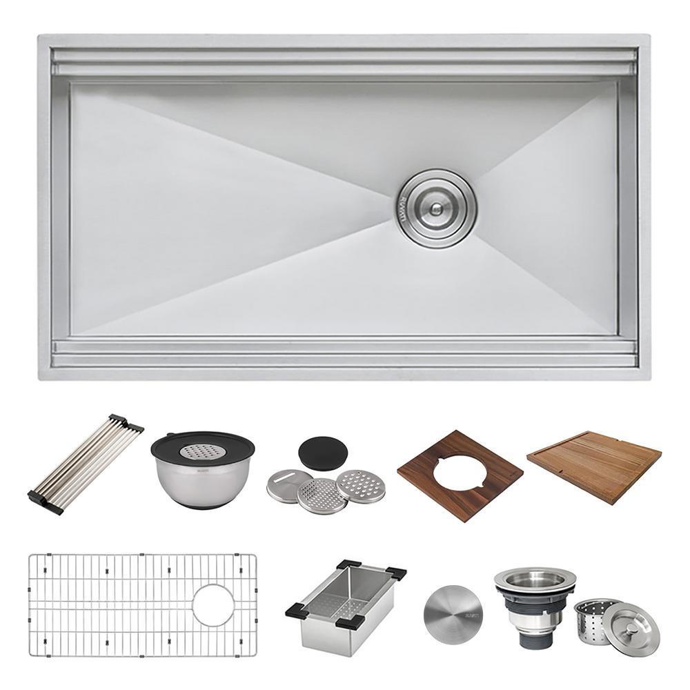 16-Gauge Stainless Steel 33 in. Single Bowl Undermount Workstation Kitchen Sink