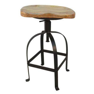 Kabir 25 in. to 30.5 in. Natural Wood Tractor Seat Adjustable Stool