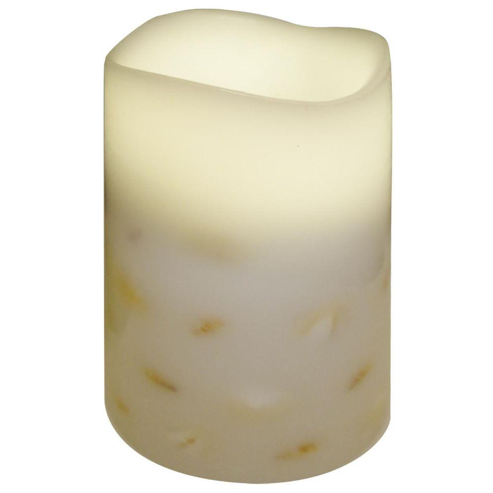 null 4 in. x 5.5 in. Flameless Shell Embedded Candle