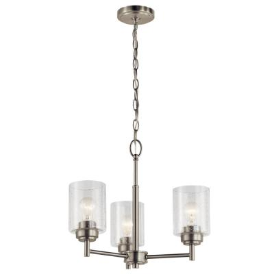 Winslow 3-Light Brushed Nickel Mini Chandelier with Clear Seeded Glass Shade