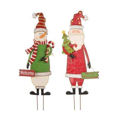 Metal Snowman and Santa Yard Stake or Standing Decor or Wall Decor (KD, 3-Function) Set of 2