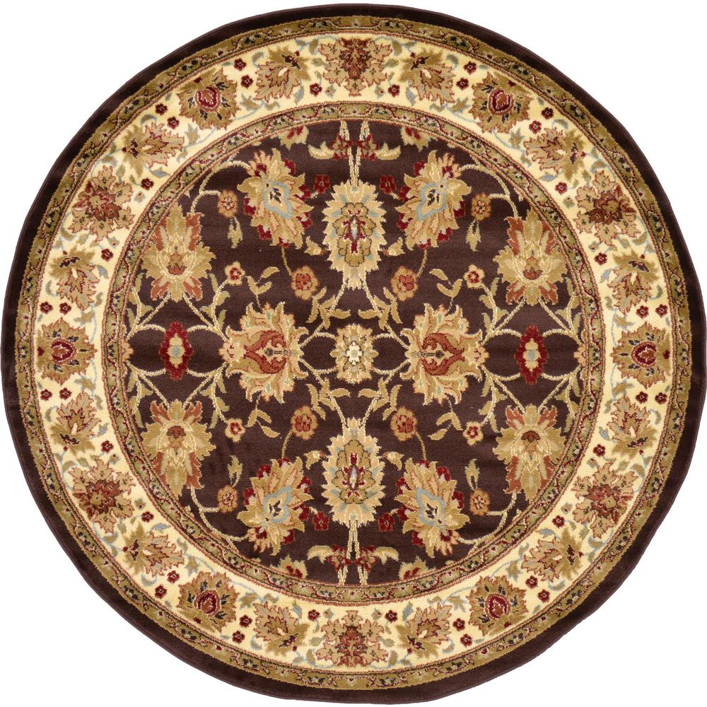 Agra Brown 6 ft. x 6 ft. Round Area Rug