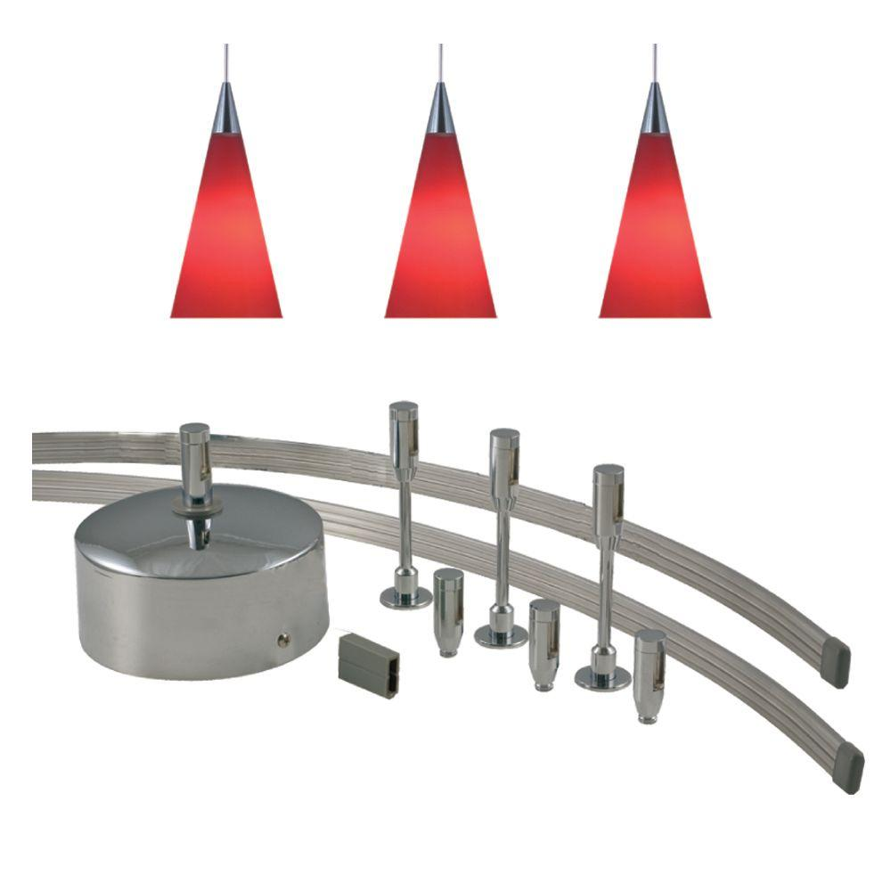 JESCO Lighting 96 in. Low-Voltage 150-Watt Monorail Kit with 3 Red Pendants