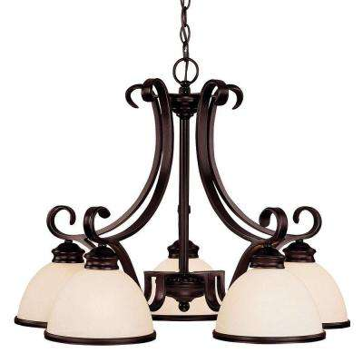 5-Light English Bronze Chandelier with Cream Marble Glass