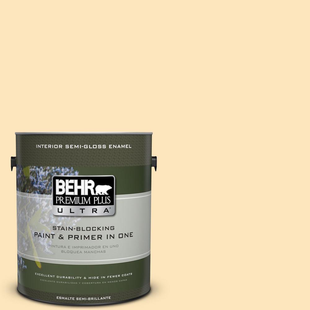BEHR Premium Plus Ultra 1 gal. #350C-2 Banana Cream Semi-Gloss Enamel Interior Paint and Primer in One