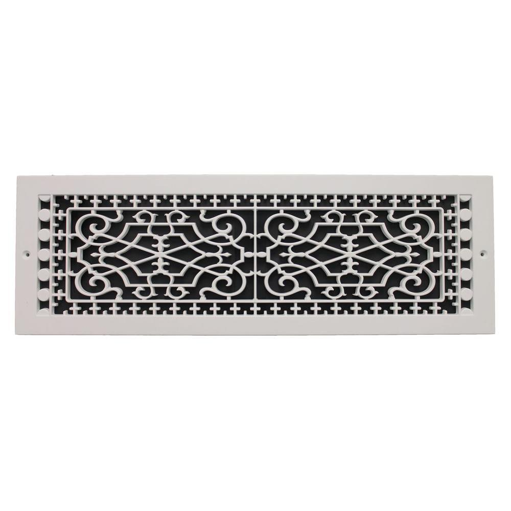 SMI Ventilation Products Victorian Base Board 6 in. x 22 in. Opening, 8 in. x 24 in. Overall Size, Polymer Decorative Return Air Grille, White