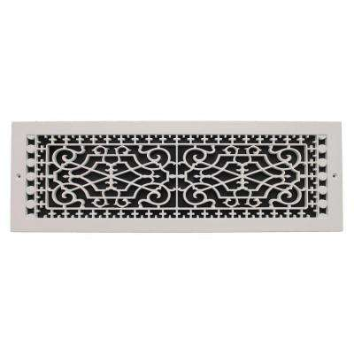 Victorian Base Board 6 in. x 22 in. Opening, 8 in. x 24 in. Overall Size, Polymer Decorative Return Air Grille, White