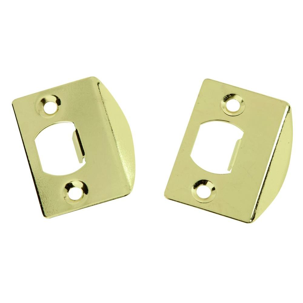 Polished Brass Full Lip Door Strikes (2-Pack)