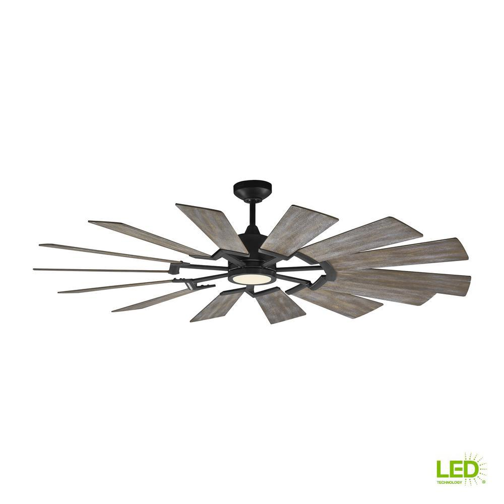 Monte Carlo Prairie 62 in. LED Indoor Aged Pewter Ceiling Fan ...
