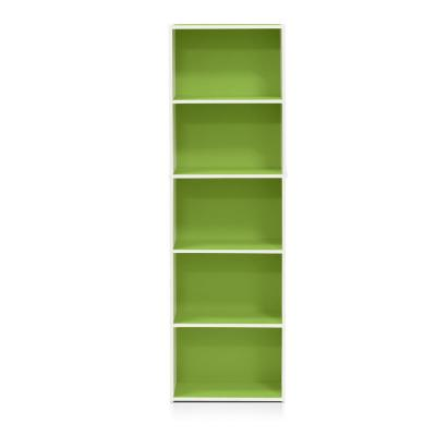 52 in. Green/White Faux Wood 5-shelf Standard Bookcase with Storage