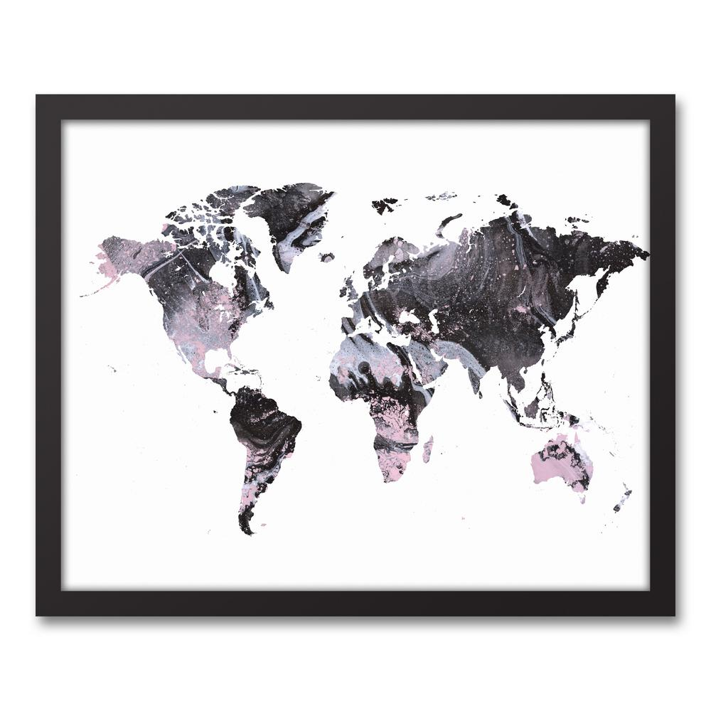 DESIGNS DIRECT 17.73 in. x 21.73 in. \'\'Gray World Map\'\' Printed ...