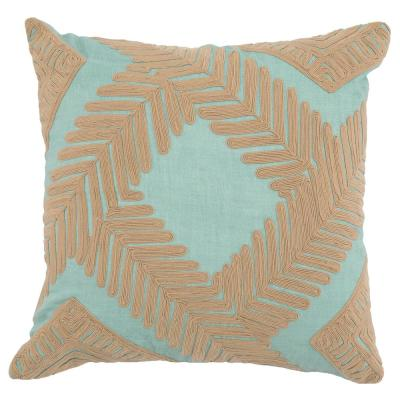 Marly Blue Surf / Natural 22 in. x 22 in. Linen Embroidery Decorative Pillow