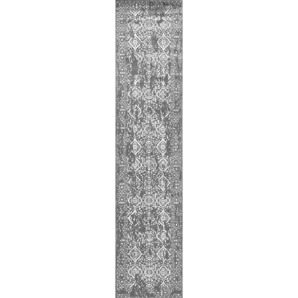 Vintage Odell Silver 3 ft. x 12 ft. Runner Rug