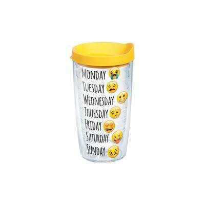 Emoji Days of the Week 16 oz. Clear Tumbler with Lid