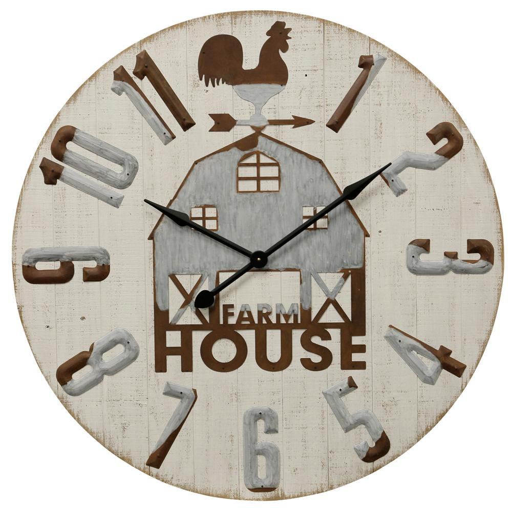 StyleCraft Farm House Metal and Wood Wall Clock, White was $295.99 now $124.72 (58.0% off)