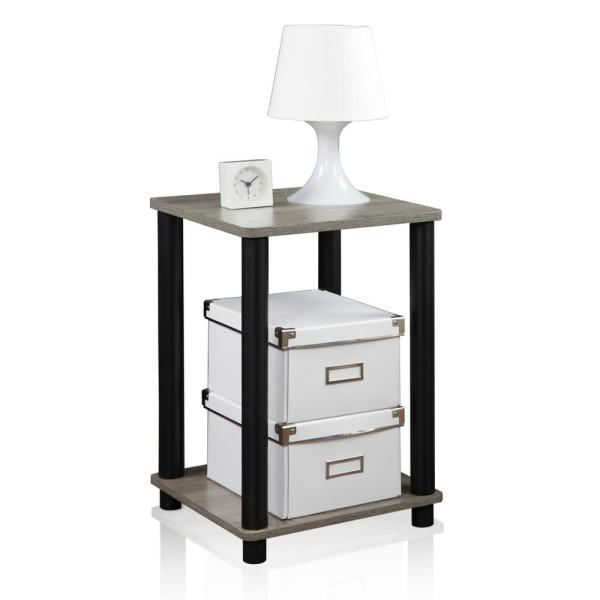 Furinno Turn N Tube Simple French Oak Grey End Table 99800GYW/BK