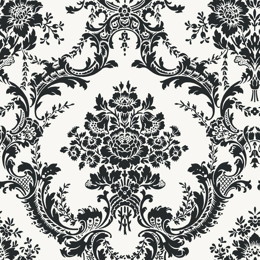 The Wallpaper Company 8 in. x 10 in. Black and White Mid Scale Damask Wallpaper Sample