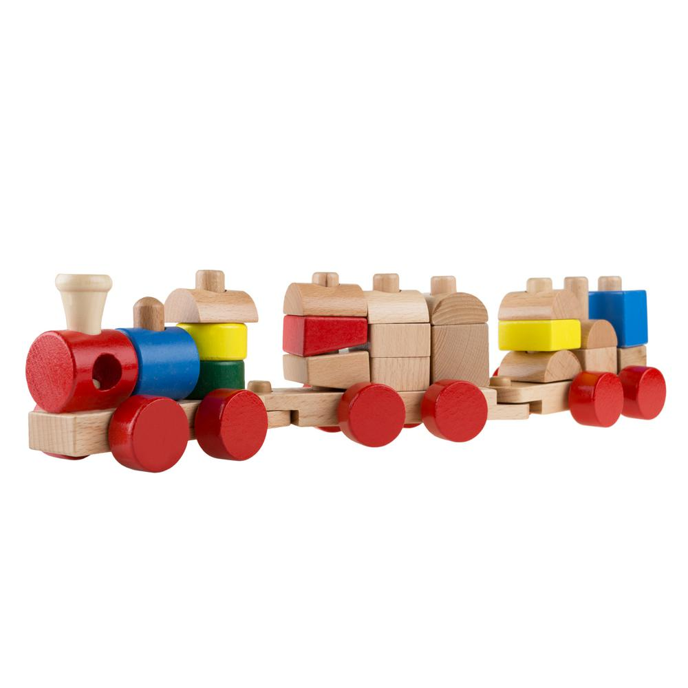 hey! play! 20-piece wooden toy stacking learning train set