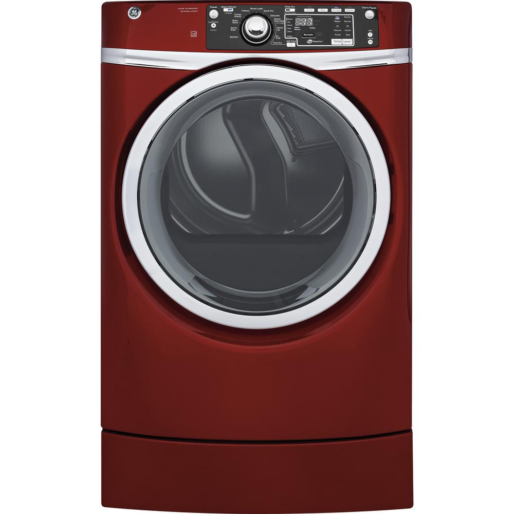 GE 8.3 cu. ft. 240 Volt Ruby Red Electric Vented Dryer with Steam and RightHeight Design, ENERGY STAR