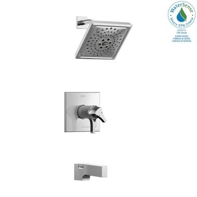 Zura TempAssure 1-Handle Tub and Shower Faucet Trim Kit with H2Okinetic Spray in Chrome (Valve Not Included)