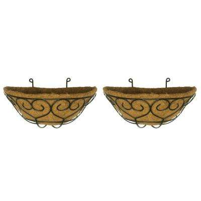 Coconest 9 in. Painted Steel Half Basket Planters (2-Pack)