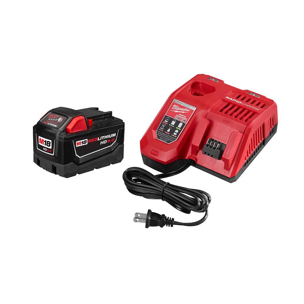 Milwaukee M18 18-Volt Lithium-Ion High Demand Battery Pack 9.0Ah and Charger Starter Kit