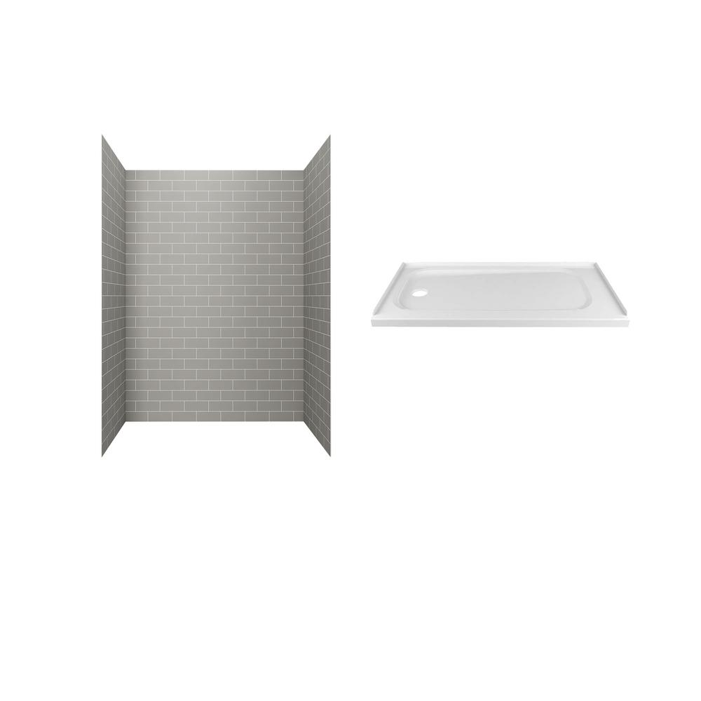 American Standard Passage 60 in. x 72 in. 2-Piece Glue-Up Alcove Shower Wall and Base Kit with Left Hand Drain in Gray Subway Tile