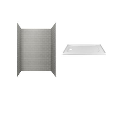 Passage 60 in. x 72 in. 2-Piece Glue-Up Alcove Shower Wall and Base Kit with Left Hand Drain in Gray Subway Tile