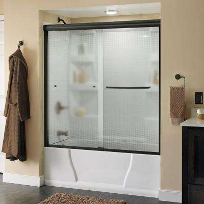 Simplicity 60 in. x 58-1/8 in. Semi-Frameless Sliding Bathtub Door in Bronze with Rain Glass