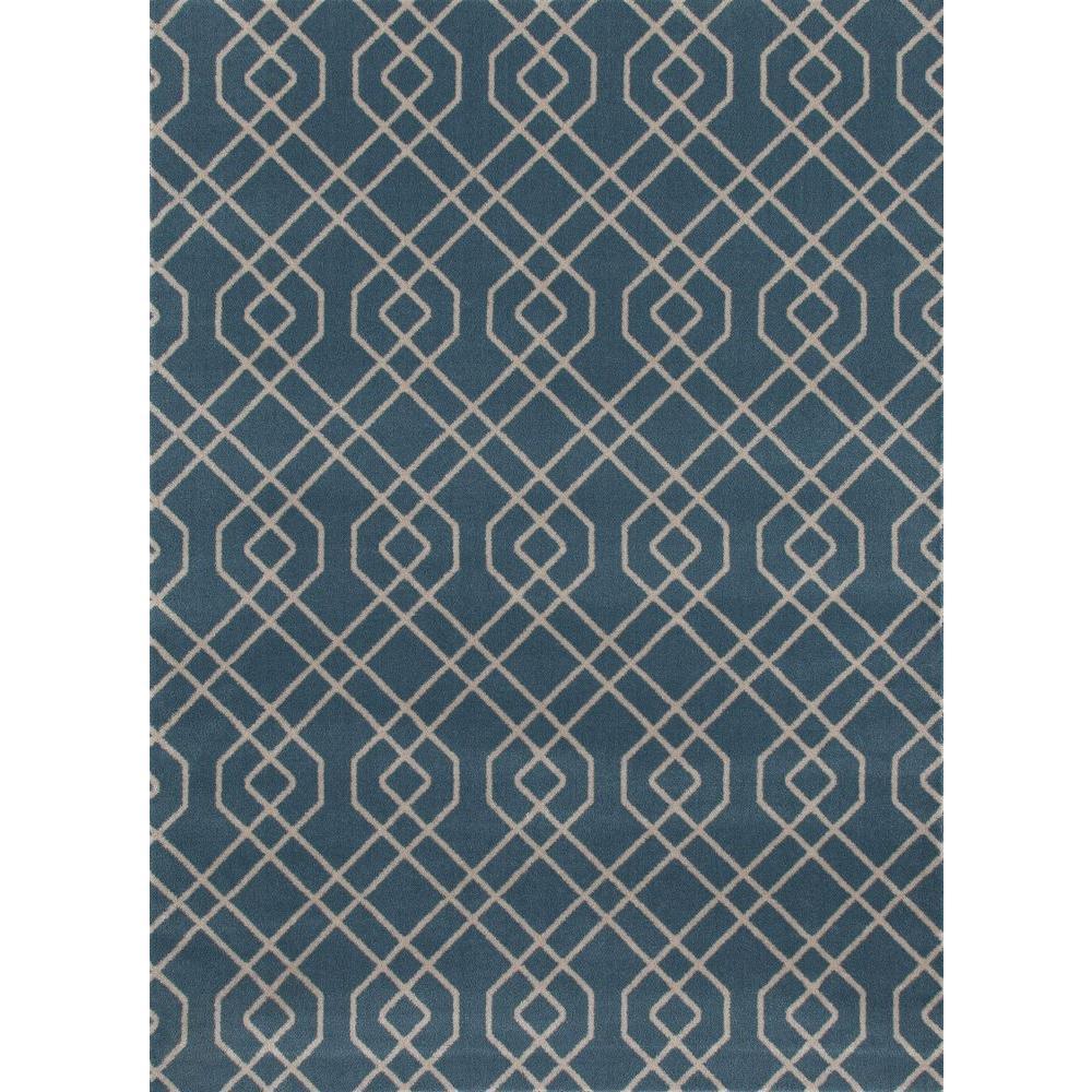 Modern Trellis Design Blue 9 ft. x 12 ft. Area Rug by