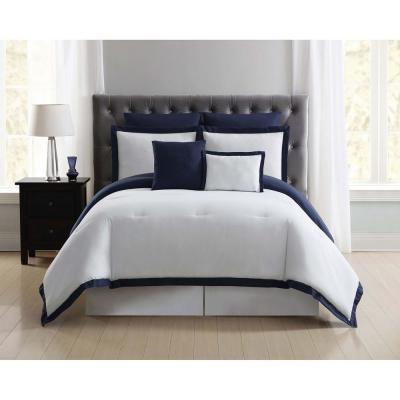 Everyday 7-Piece White and Navy King Comforter Set