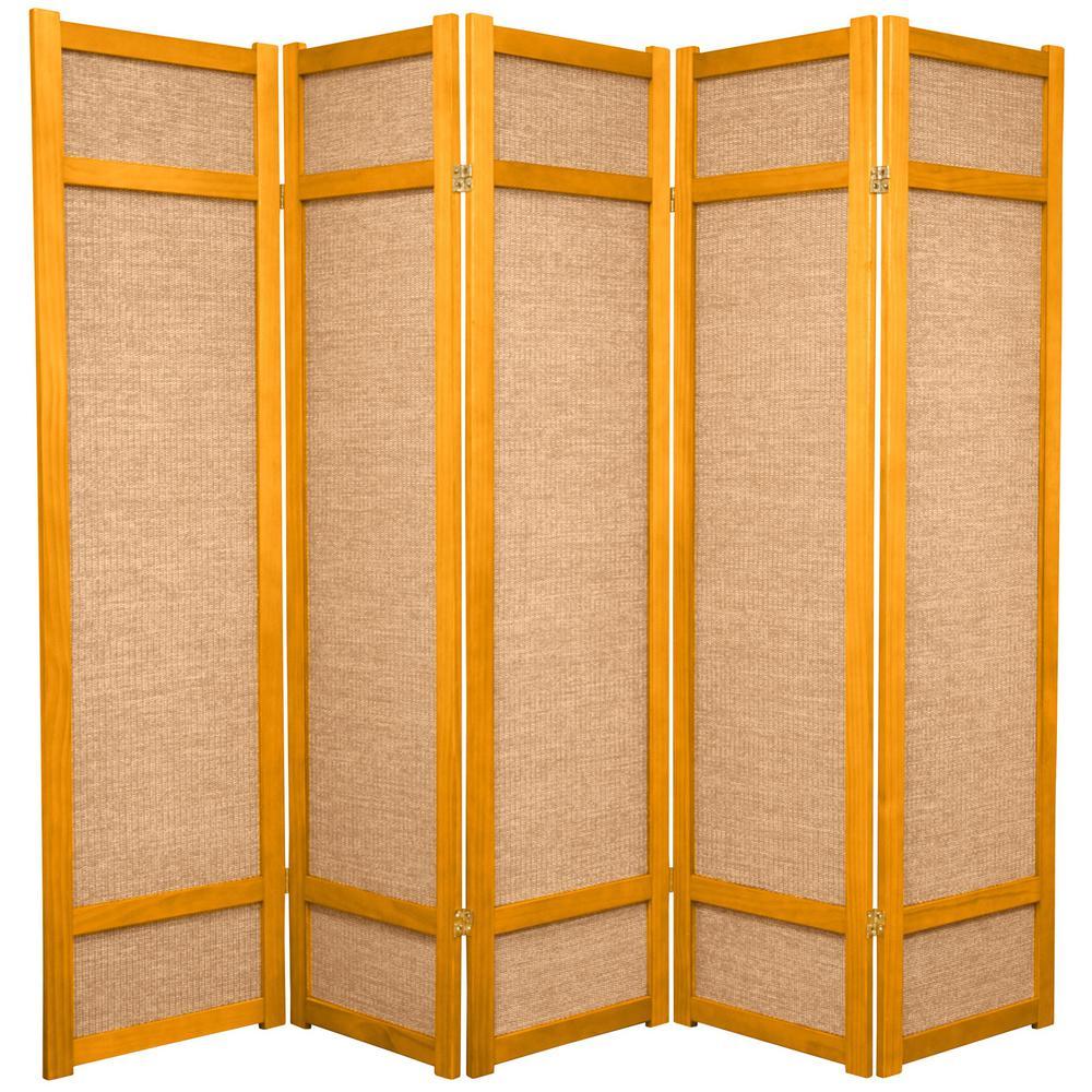 6 ft honey 5 panel room divider jkshoji hon 5p the home depot rh homedepot com 4 Panel Room Divider Screen Rolling Room Dividers Partitions